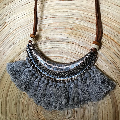 Bohemian Dream Tassel Necklace- Grey Silver Mist