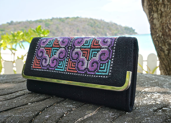 Chicania Hmong Clutch Bag- Black and Purple