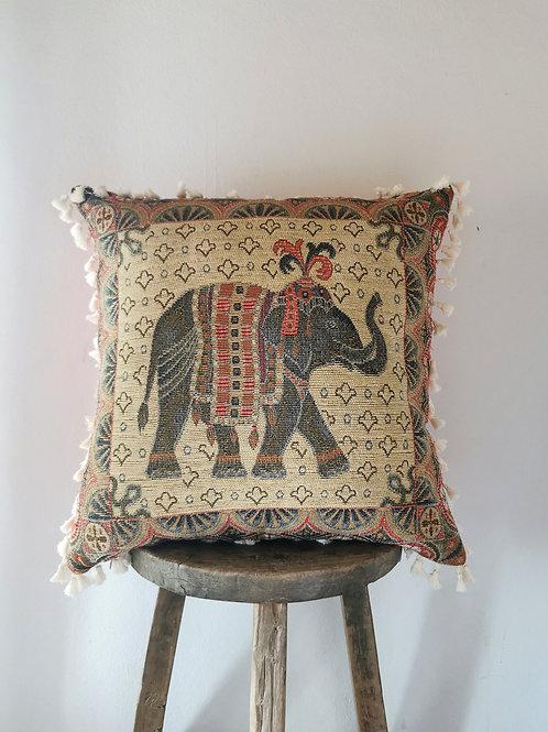 """Whimiscal Indian Elephant Fringed Cushion Cover 22"""" Rose Taupe"""