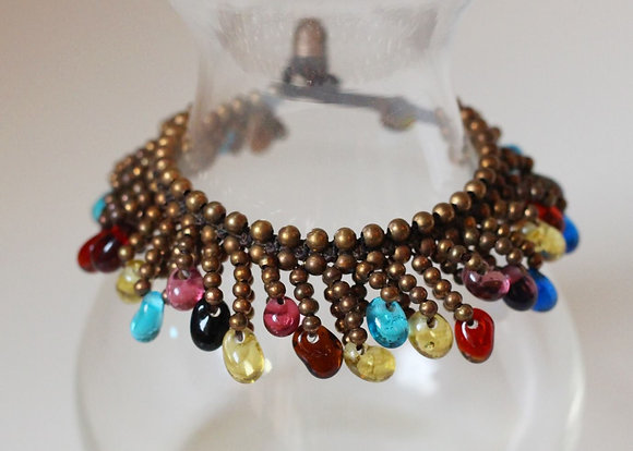 Jemima Bracelet- Brass and Multi Beads