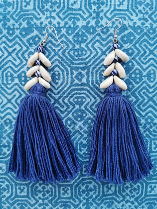 Japanese Porcelain Blue and White Tassel and Cowrie Shell Beaded Earrings