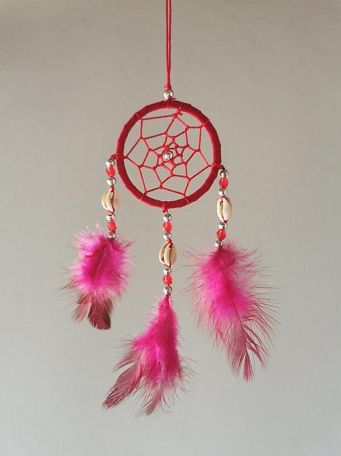 Cowrie Shell Pink Macrame Feather Dreamcatcher