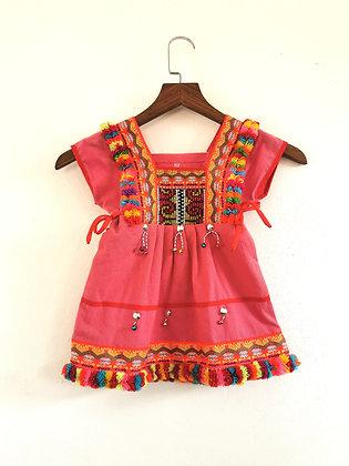 Pink Multi Pom Pom Boho Girls Dress Age 2/3