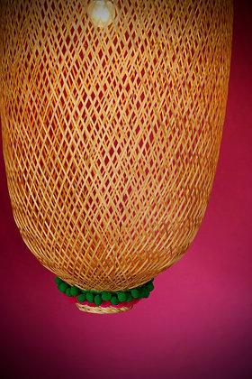 Bamboogie Basket Lampshade Oblong Large- Green Fuchsia Pom Pom