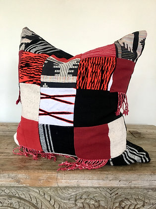 Wanderlust Textile Patchwork Cushion Red and Black