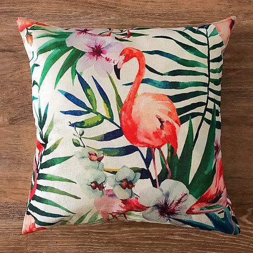 Playa Flamingo Paradise Leaf Cushion Cover