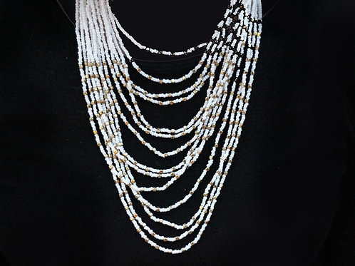 White Waterfall Necklace- Multistrand Beaded Long Length