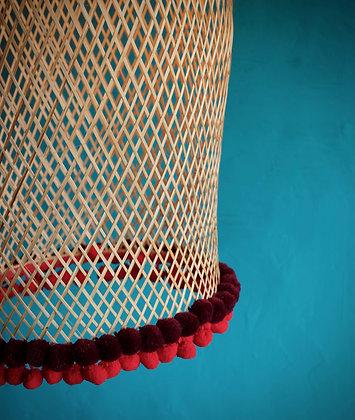 Bamboogie Basket Lampshade Big Bell - Scarlet Merlot Pom Pom