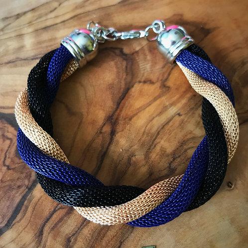 Rihanna Twist Coil Bracelet- Gold, Navy, Black