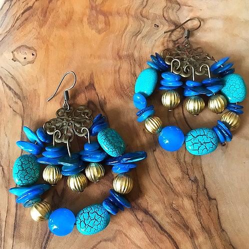 Miranda Boho Bead Cluster Earrings- Turquoise Azure