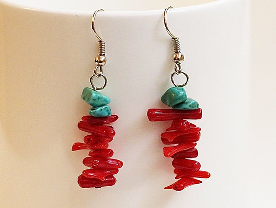 Rock Lobster Chakra Earrings- Red Coral & Turquoise
