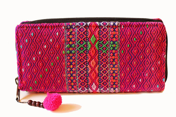 Karen Hill Tribe Pompom Purse- Pink Multicolour