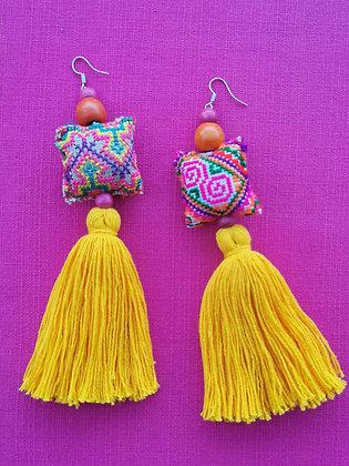 Hmong Mini Pillow Tassel Earrings- Golden Sunshine