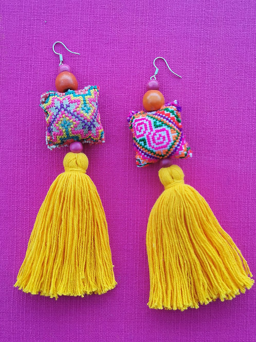 Yellow and pink statement earrings