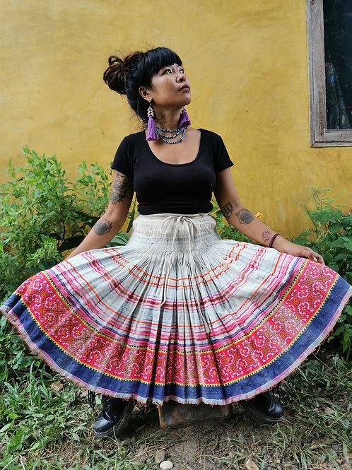 Penny Vintage Hmong Hemp Pleated Skirt- Indigo FREE DHL SHIPPING