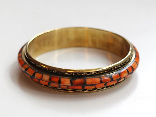 Shelby Cherry Bangle- Mother of Pearl and Brass