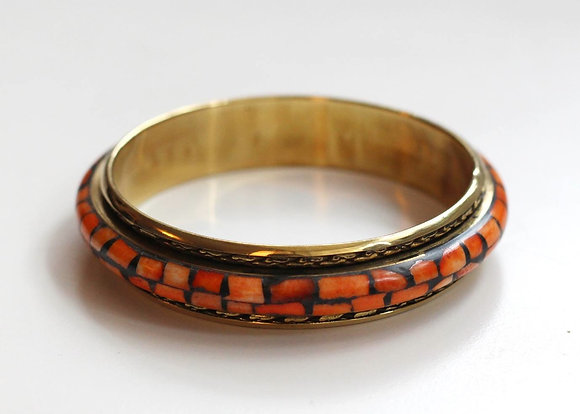 Shelby Orange Bangle- Mother of Pearl and Brass