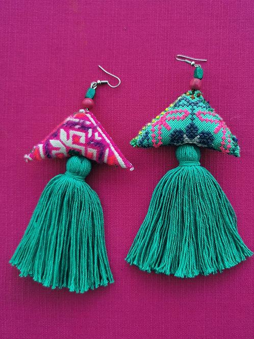 flamingo tassel earrings