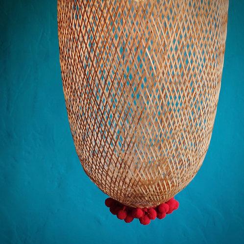 Bamboogie Basket Lampshade Large- Scarlet Pom Pom