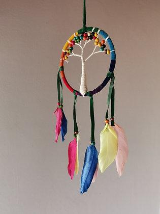 Tree of Life Rainbow Feather Dreamcatcher- Medium