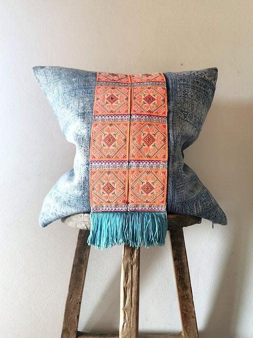 Orange and Indigo Pillow