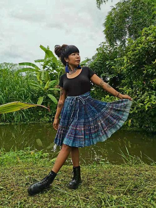 Indi Vintage Hmong Hemp Pleated Skirt- Indigo FREE DHL SHIPPING