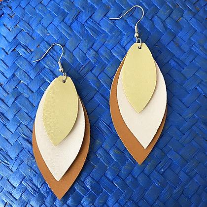 Vegan Leather Petal Drop Earrings- Desert Sand Taupe