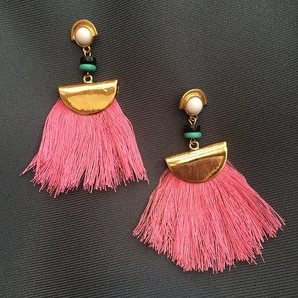 Folded Gold Teal Flamingo Tassel Earrings