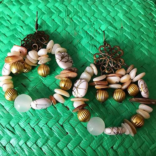 Miranda Boho Bead Cluster Earrings- Pebble Beach Taupe Stone