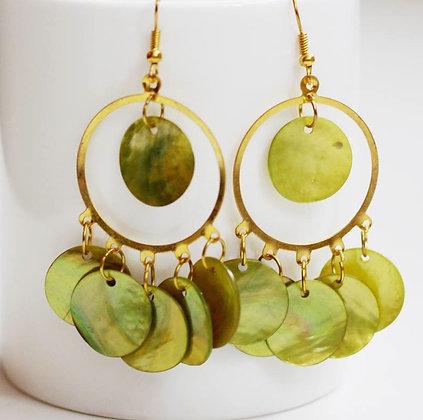 Mermaid Hoop Mother of Pearl Earrings-Tropical Citrus Lime