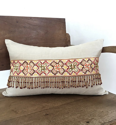 Organic Hemp Cotton Yao Embroidered Cushion Cover FREE SHIPPING