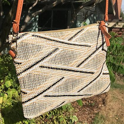 Kyoto Woven Raffia Cross Body Bag- Zebrano