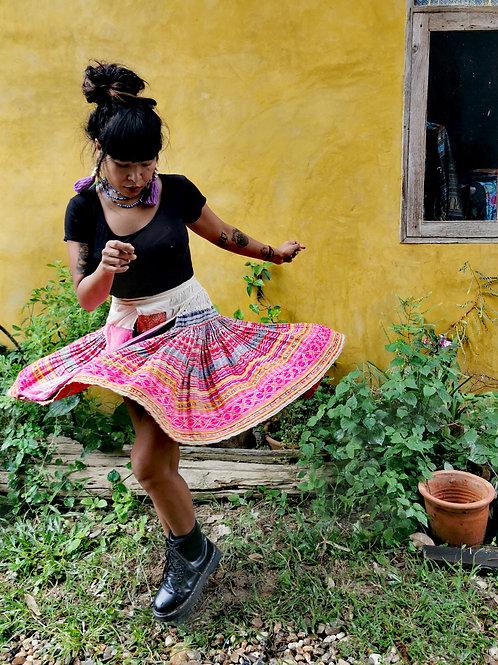 Pinketta Vintage Hmong Hemp Pleated Skirt- Indigo FREE DHL SHIPPING