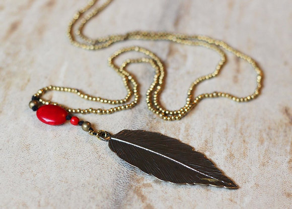 Feathery Charm Necklace- Red & Brass Seed Beaded Long Length
