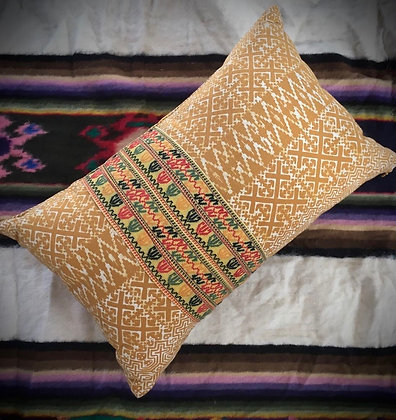 Yellow Ochre Batik Naga Cushion Cover- FREE POST