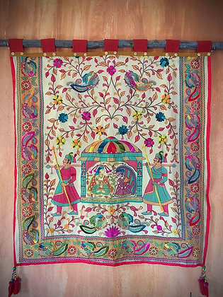 Indian Wedding Embroidered Wall Hanging Tapestry- FREE SHIPPING