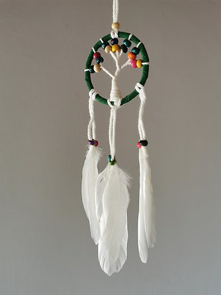 Mini Tree Green Macrame Feather Dreamcatcher
