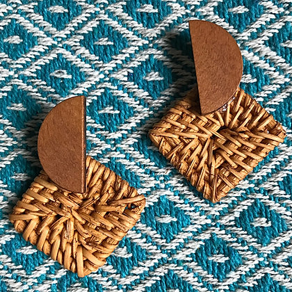 Bamboogie Woven Rattan Square Eclipse Earrings