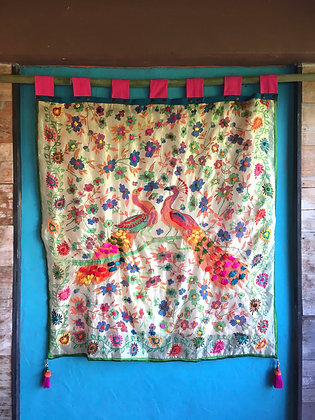 Peacock Love Birds Embroidered Wall Hanging Tapestry- FREE SHIPPING