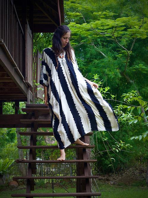 Monochrome Striped Boho Kaftan- One Size