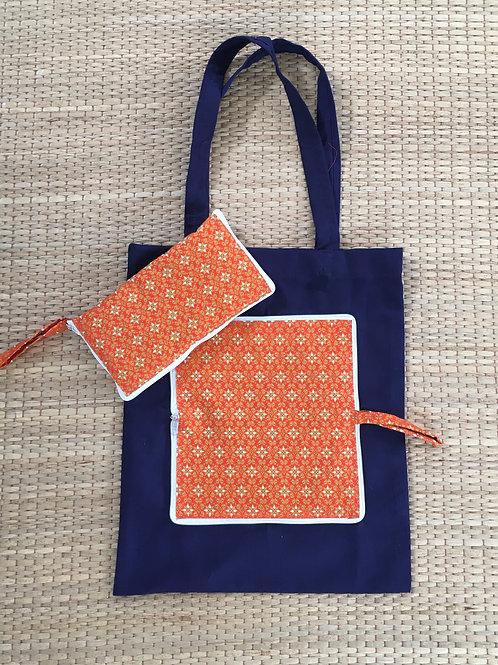 Orange Blossom Bali Batik Eco Friendly Reusable Folding Tote Bag