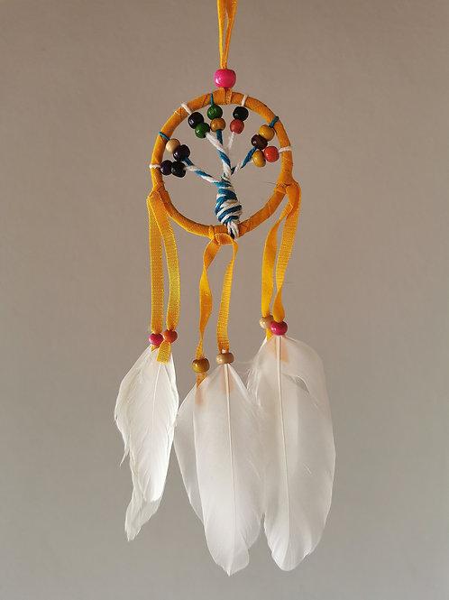 Mini Tree Yellow Macrame Feather Dreamcatcher