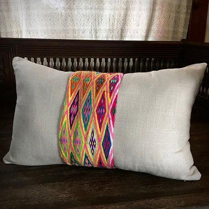Organic Hemp Cotton Vintage Hand Spun Miao Cushion Cover- FREE POST