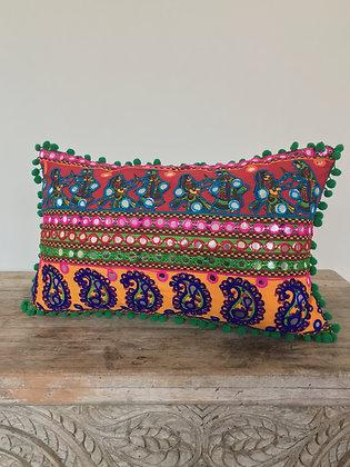Bollywood Paisley Pattern Disco Pom Pom Cushion Cover FREE SHIPPING
