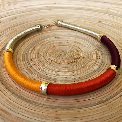 Nefertiti Coil Necklace- Amber Scarlet Merlot