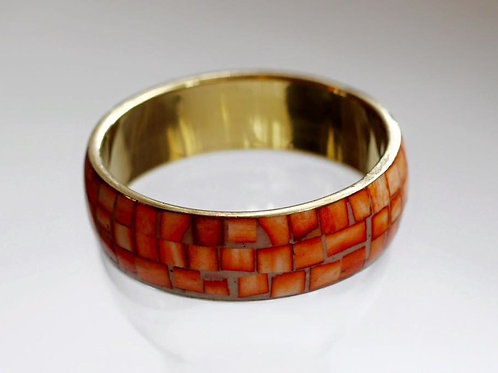 Sophia Orange Bangle- Mother of Pearl and Brass