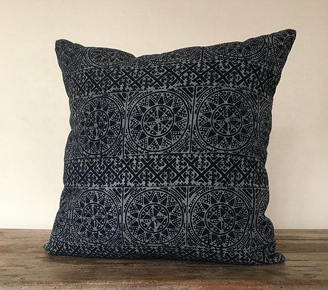 Lanna Batik Indigo Sun Burst Cushion Cover