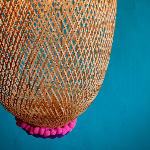 Bamboo Basket Lampshade Oblong Med- Pink Purple Pom Pom