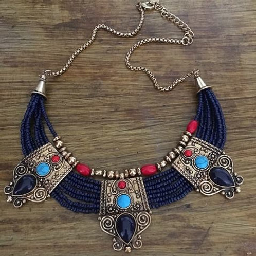 Queen Nefertiti Beaded Necklace- Tribal Style