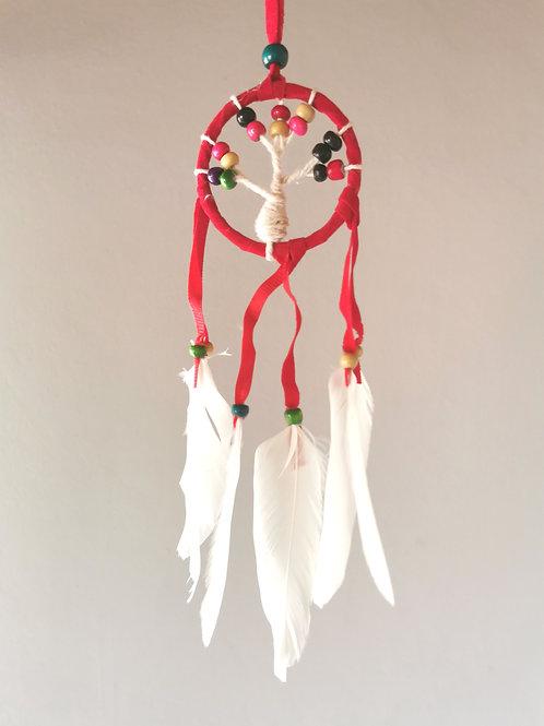 Mini Tree Red W Macrame Feather Dream Catcher
